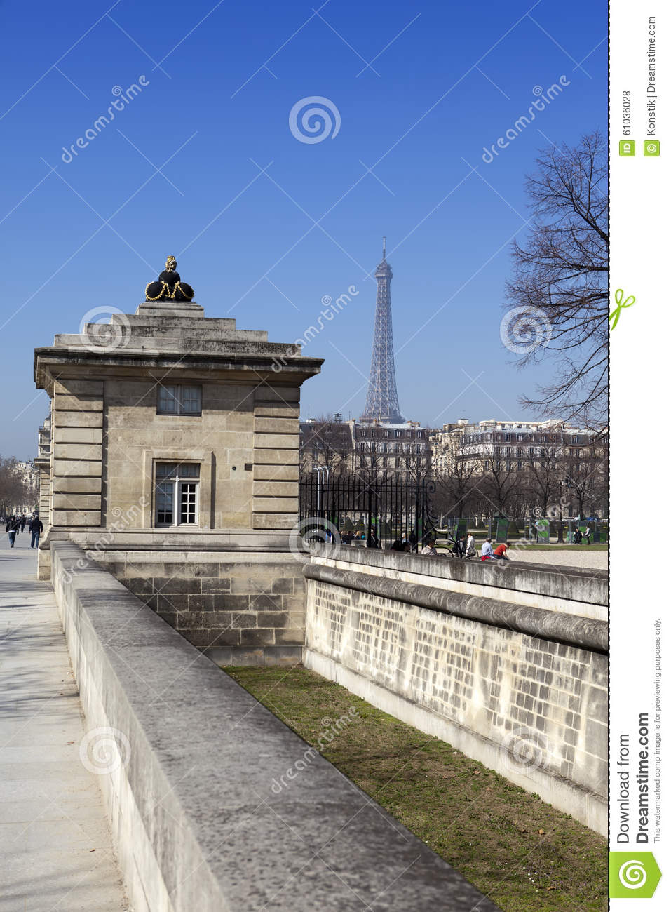 View Of The Eiffel Tower From The Hotel Des Invalides Paris