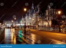 City Hall In Paris Night Stock - 30064133