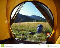 Inside Of Tent With View On Lake Stock Image ...