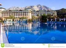 View With Luxury Hotel Pool In Kemer Antalya Stock