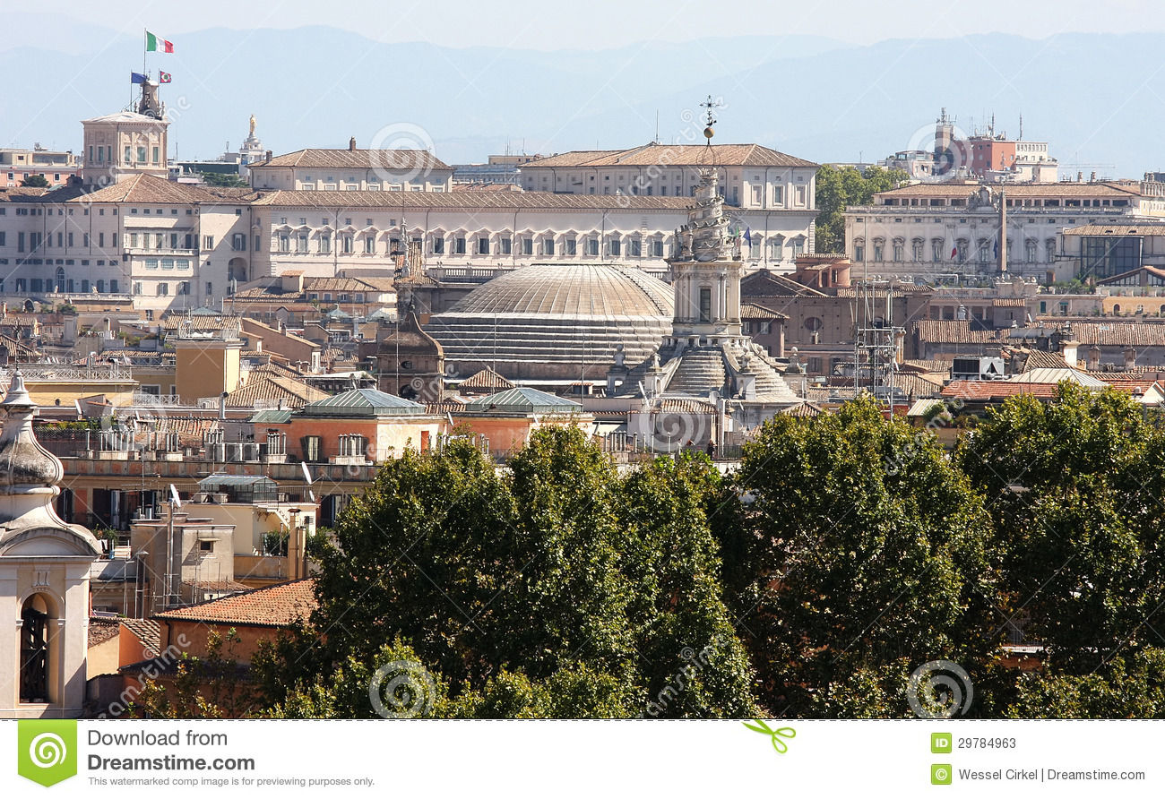 View From The Passeggiata Di Gianicolo At Rome Italy