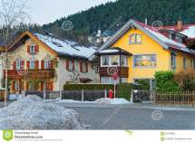 View Of Typical Alpine Houses In Garmisch