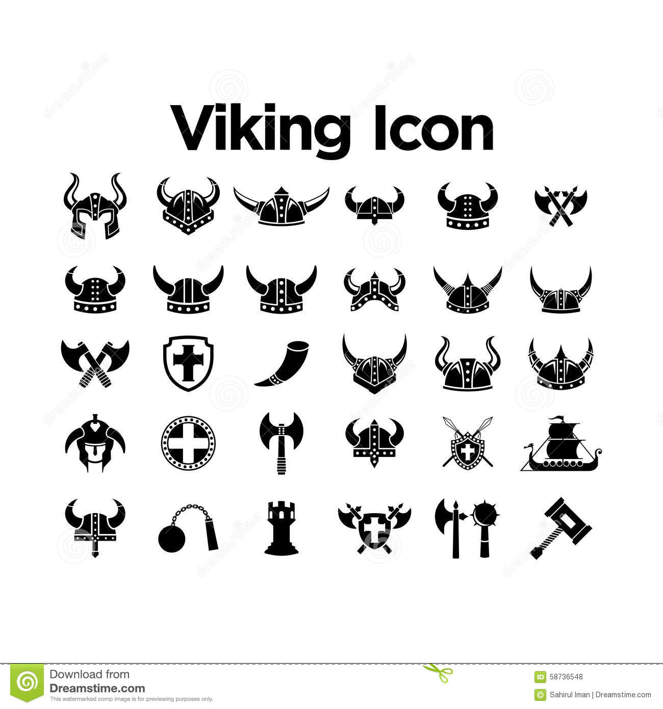 Viking Icon Set Stock Vector Illustration Of Nuclear