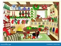 The Village Christmas Shop Stock Illustration - Image ...