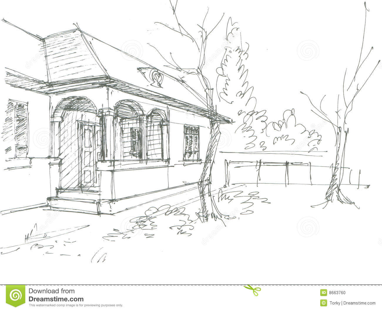 Village House Sketch Stock Photo