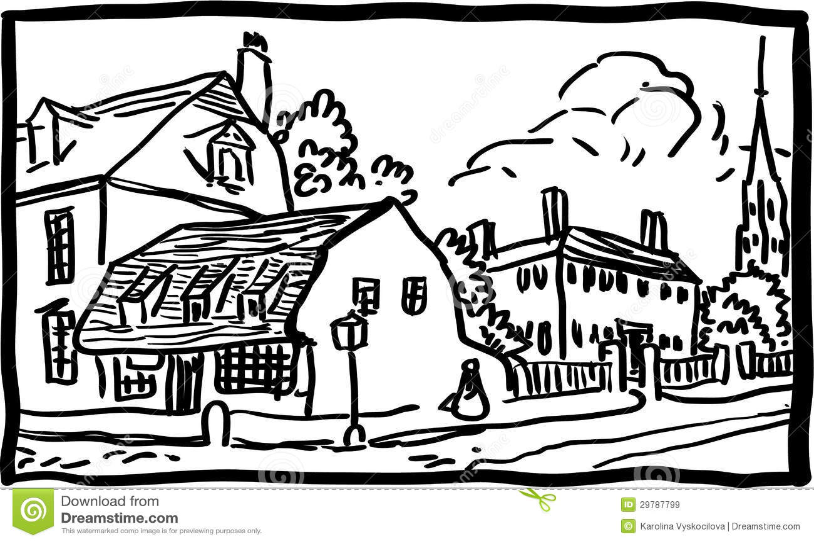 Village landscape stock vector. Illustration of