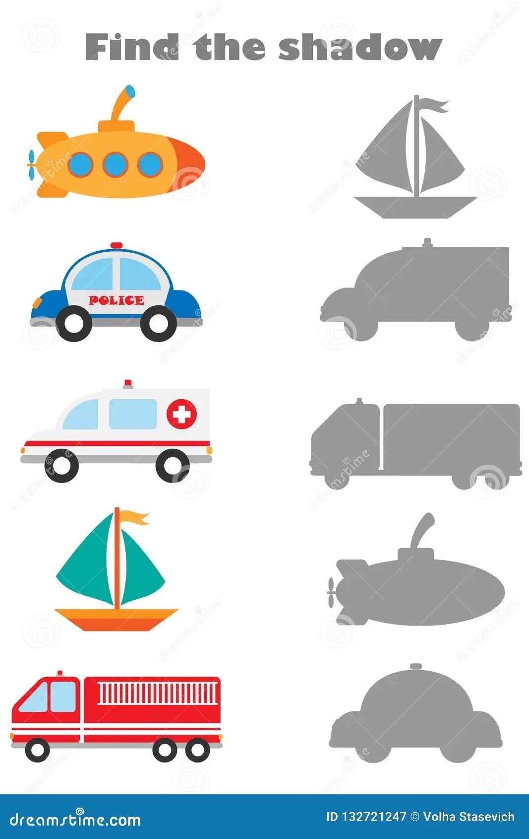Vind Het Schaduwspel Met Beelden Van Verschillend Vervoer