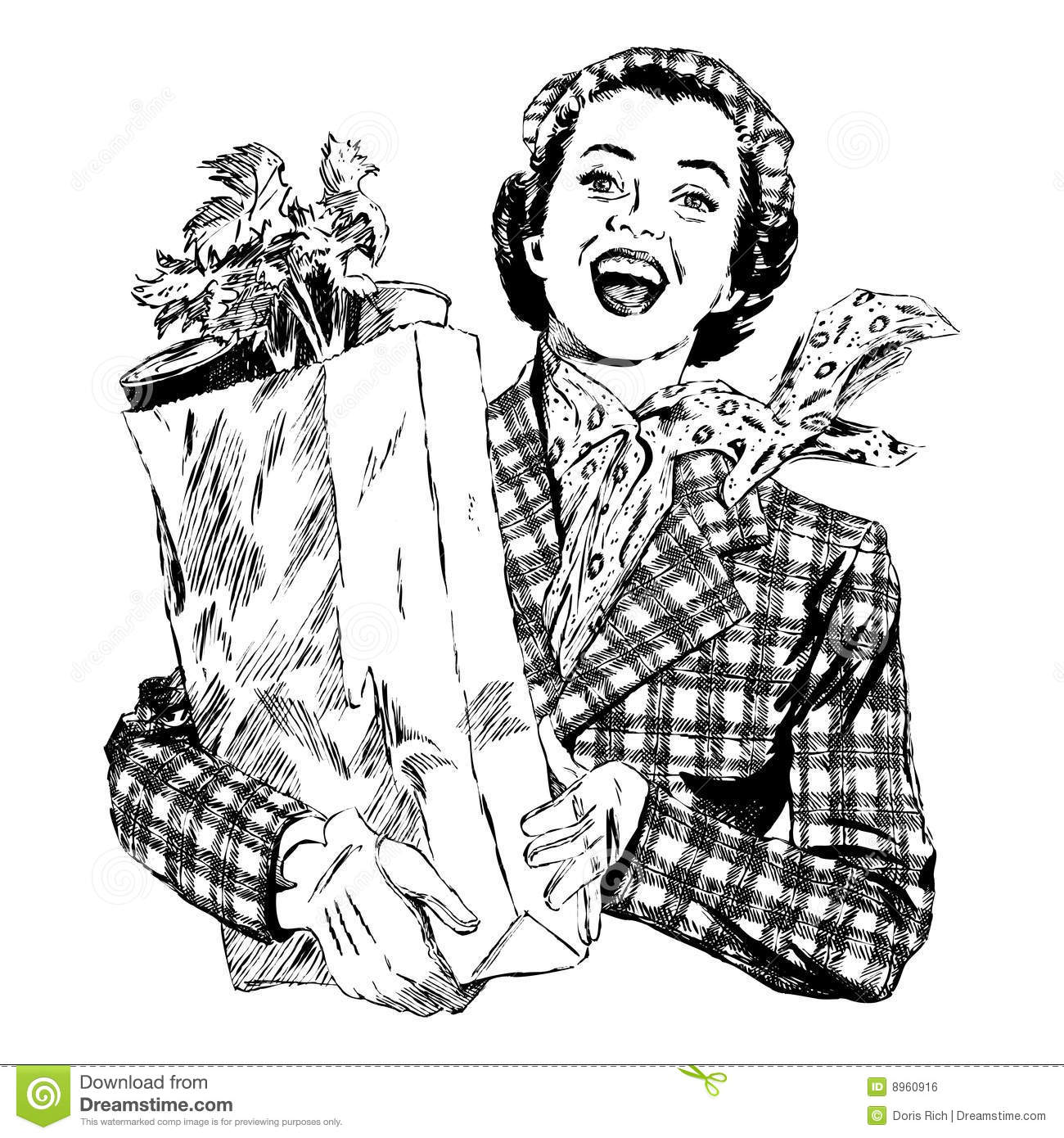 Vintage S Woman With Groceries Stock Vector
