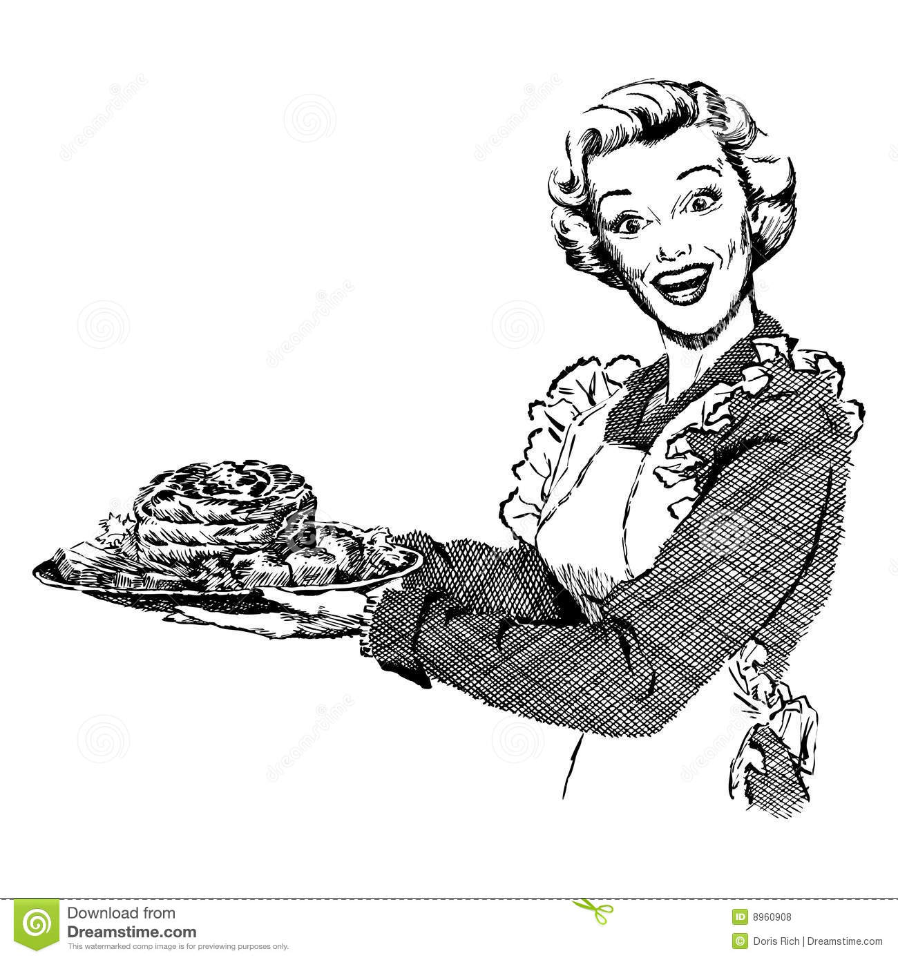 Vintage S Woman Serving Dinner Royalty Free Stock