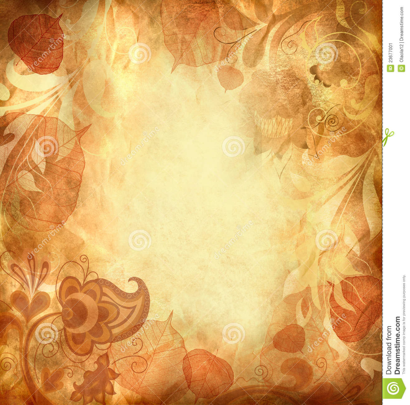 Fall Leaves Watercolor Wallpaper Vintage Background With Leaves And Patterns Stock
