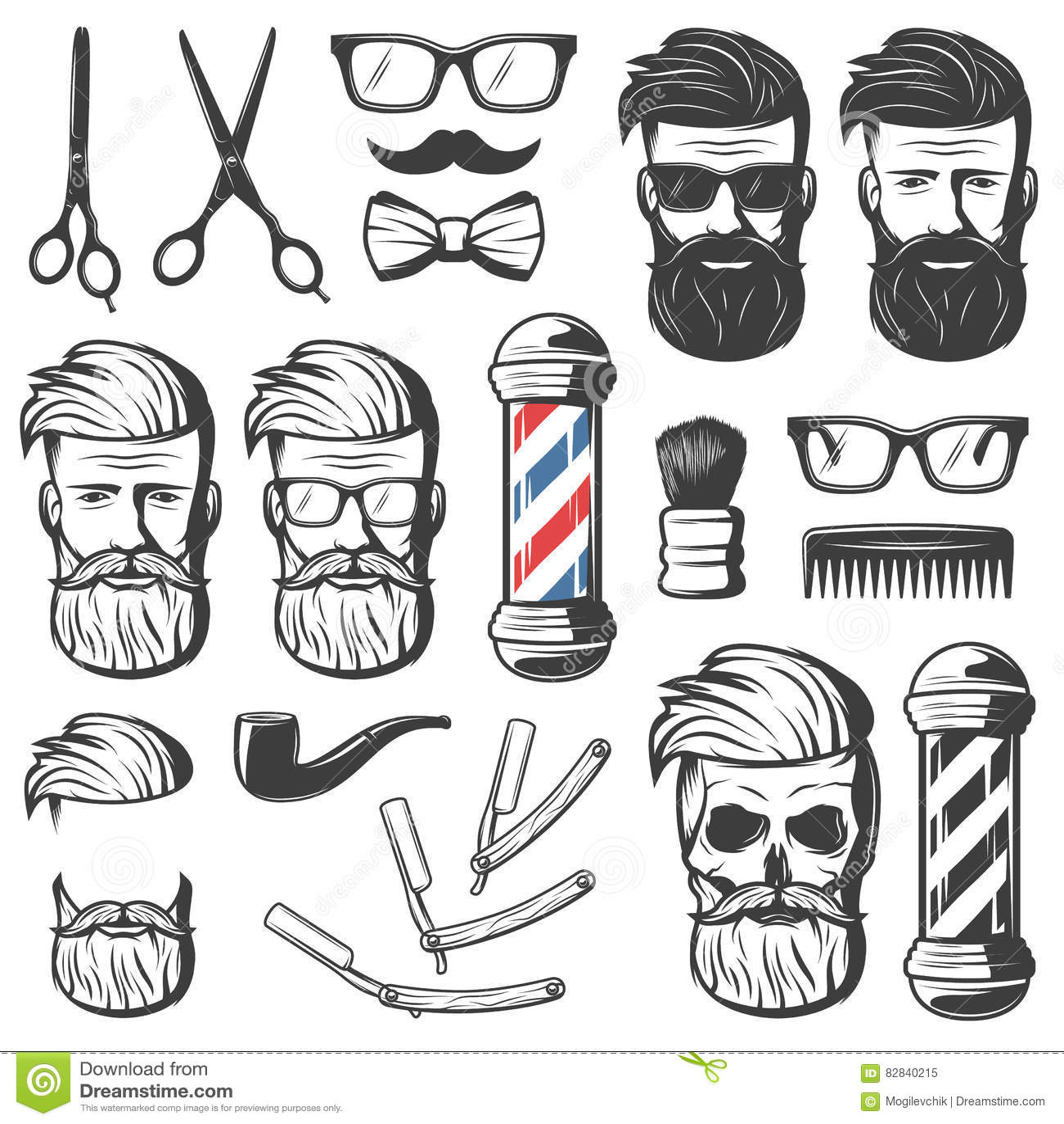 Barber Set Of Shop Elements And Shave Icons Illustration