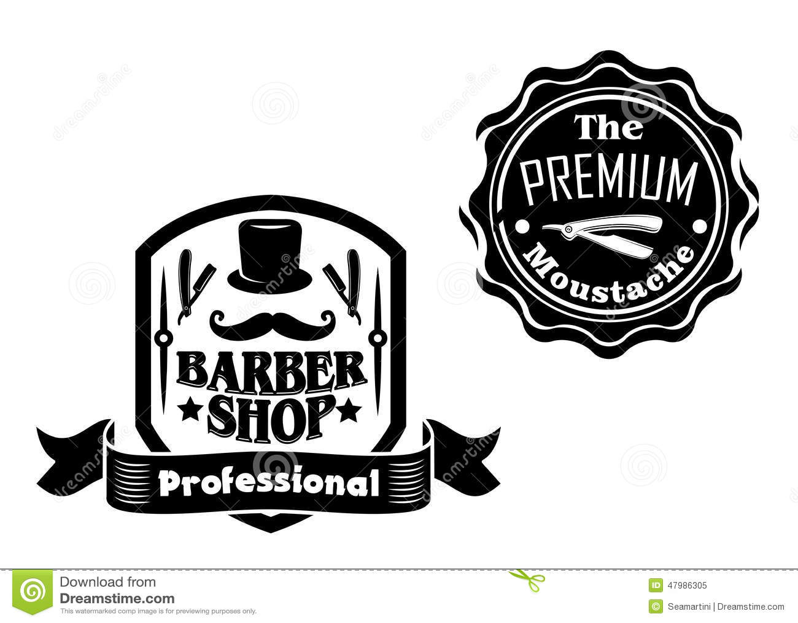 Vintage Barber Shop Designs Set Stock Vector