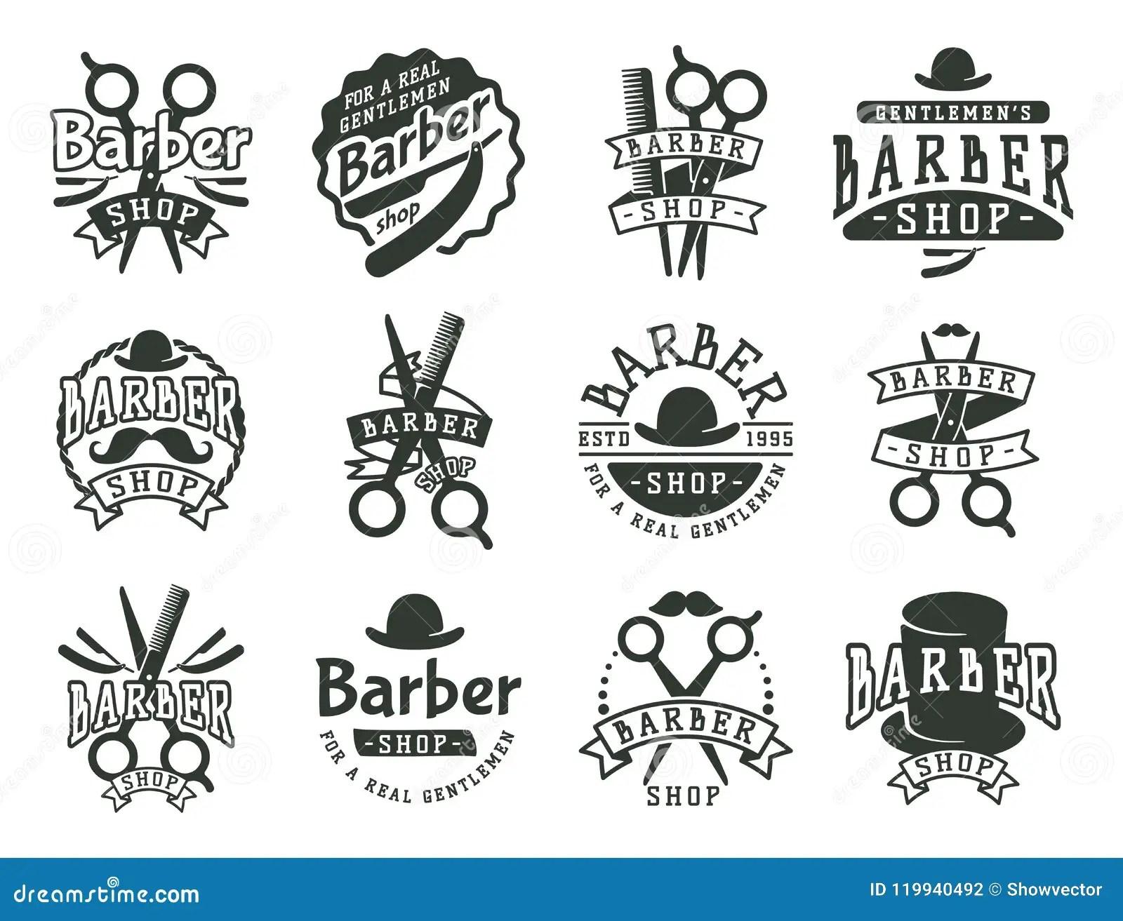 Vintage Barber Vector Logo Retro Style Haircutter