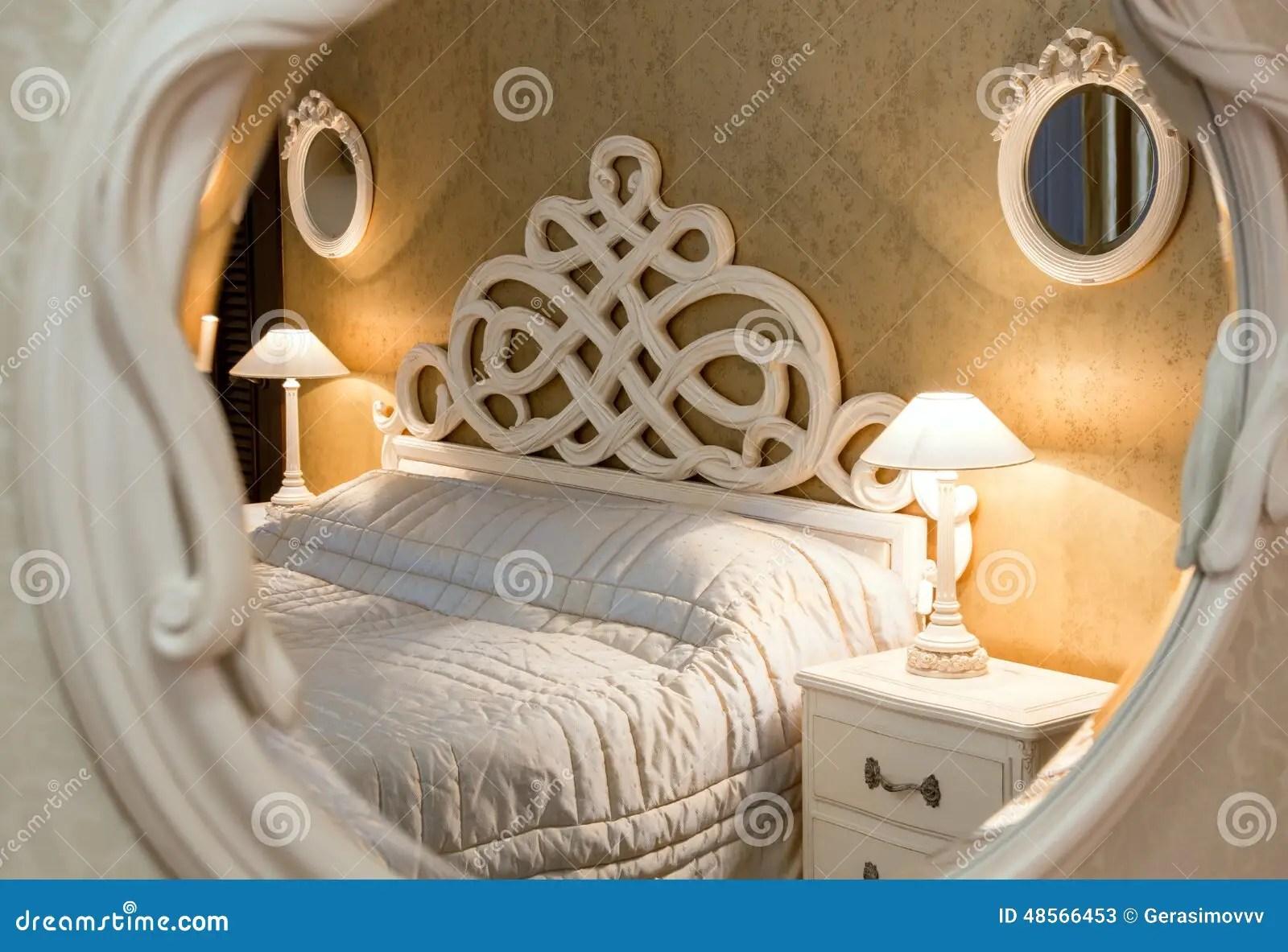 vintage bedroom seen through the mirror stock image image of door carved 48566453