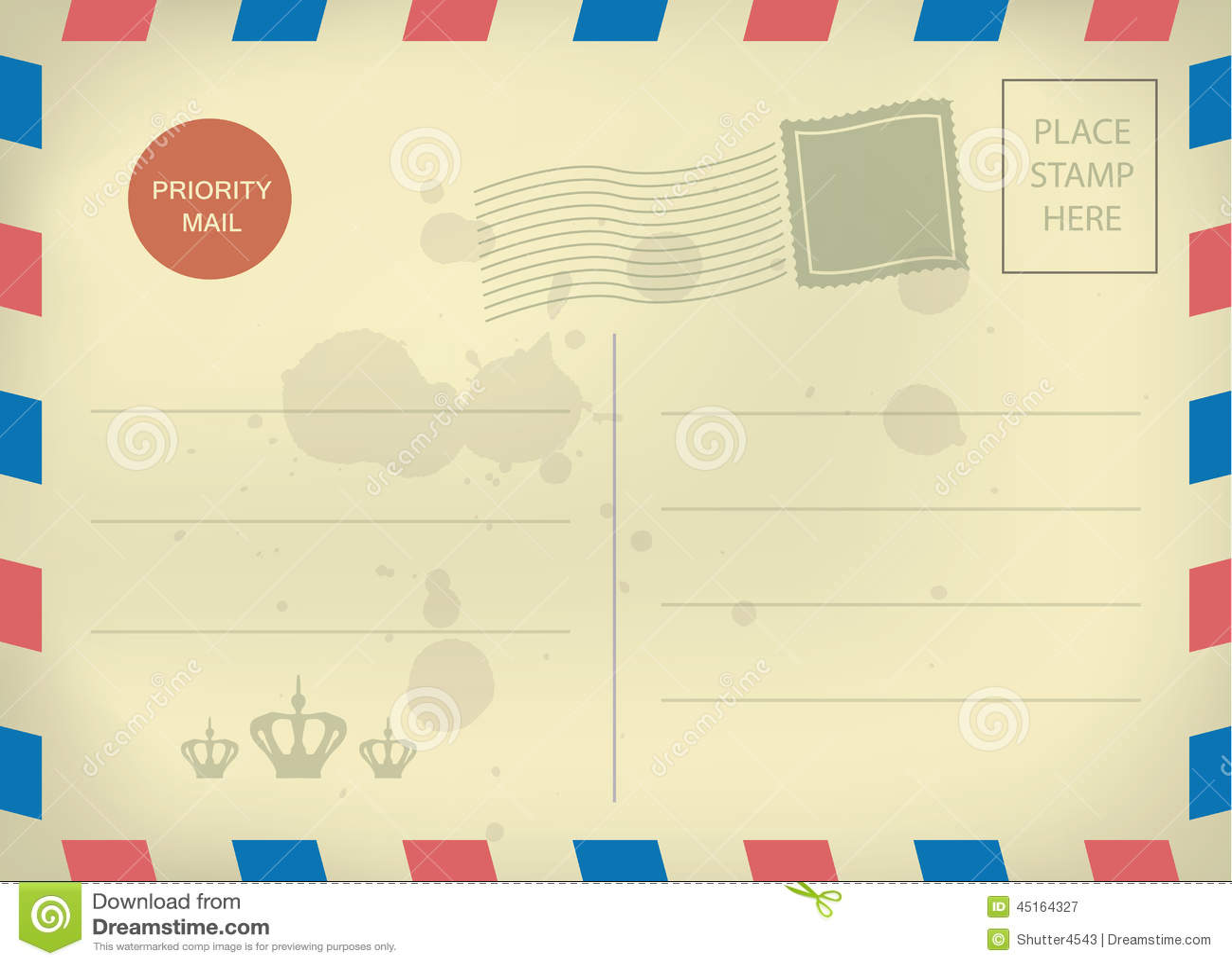 Vintage Blank Postcard Template Stock Vector