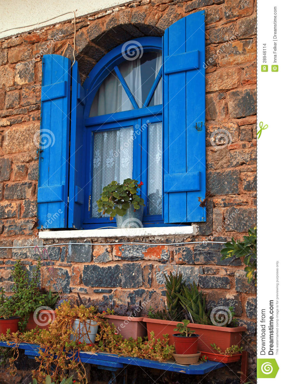 Vintage Blue Window With Shutter Greece Stock Photo