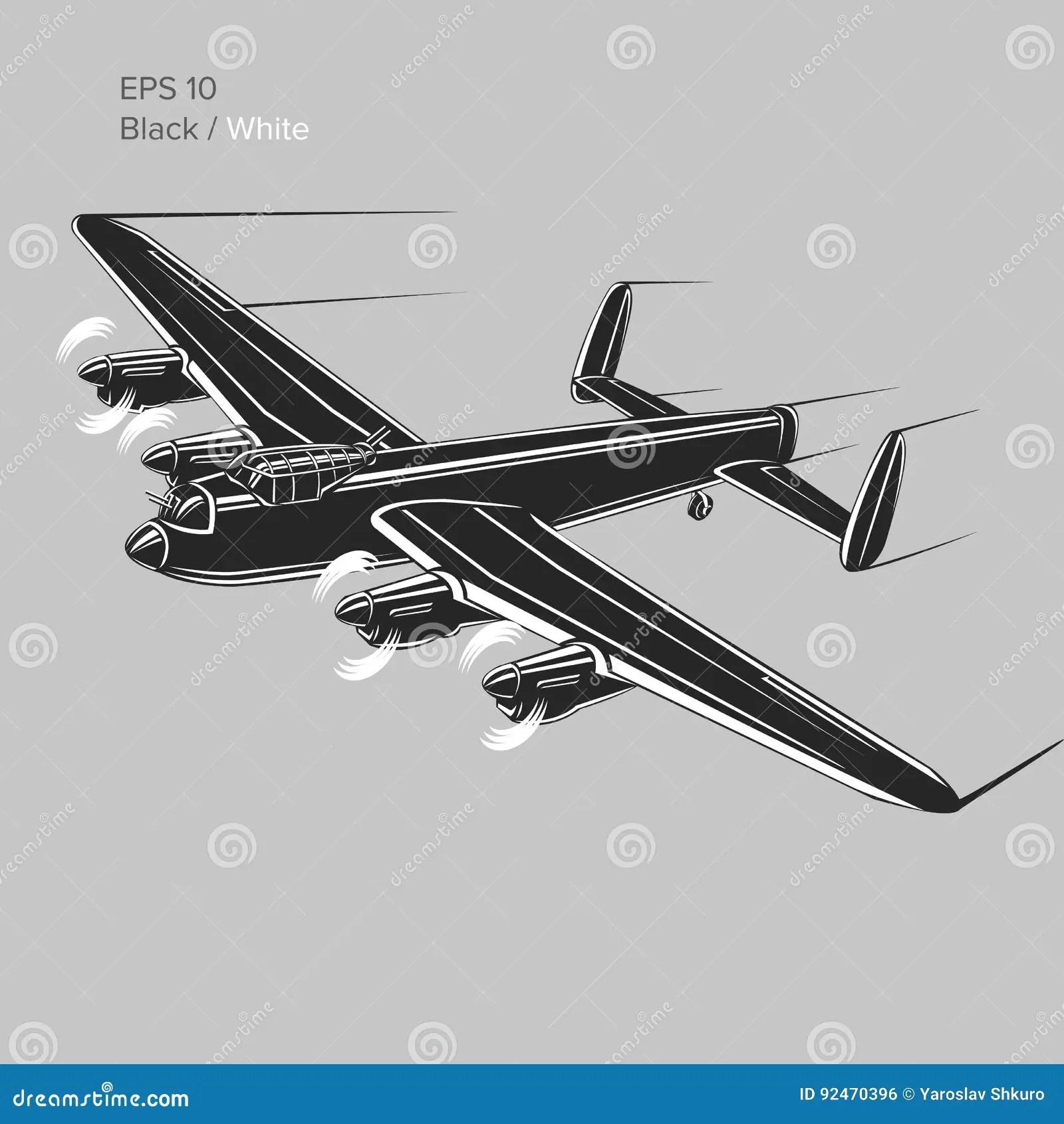 Vintageer Vector Ww2 Heavy Military Aircraft
