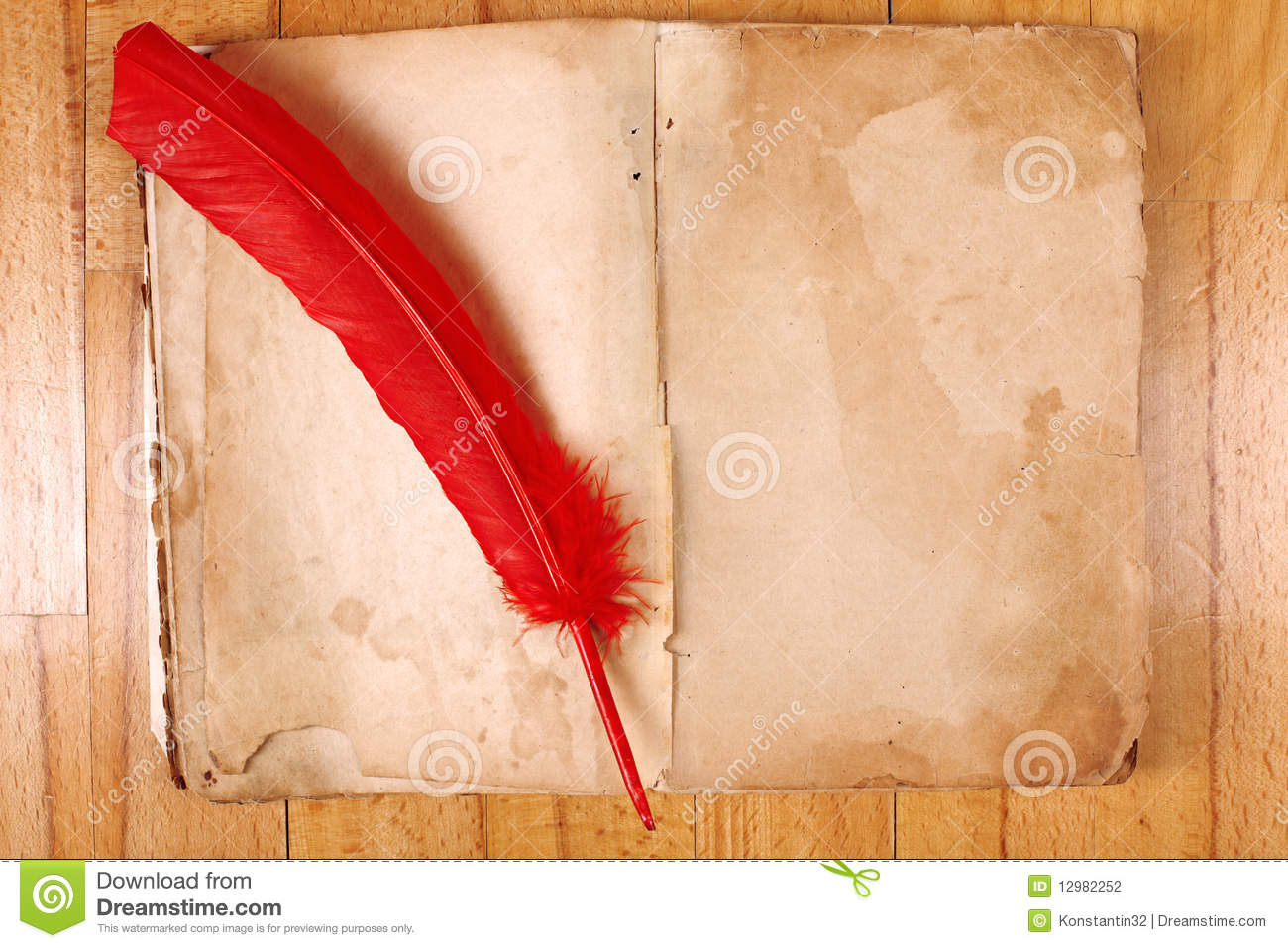 Vintage Book With Feather Pen Stock Photography  Image 12982252