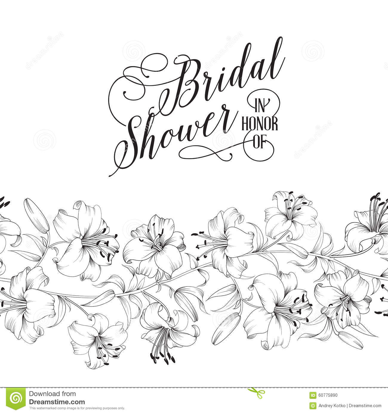 Vintage Bridal Shower Card Stock Vector Image Of