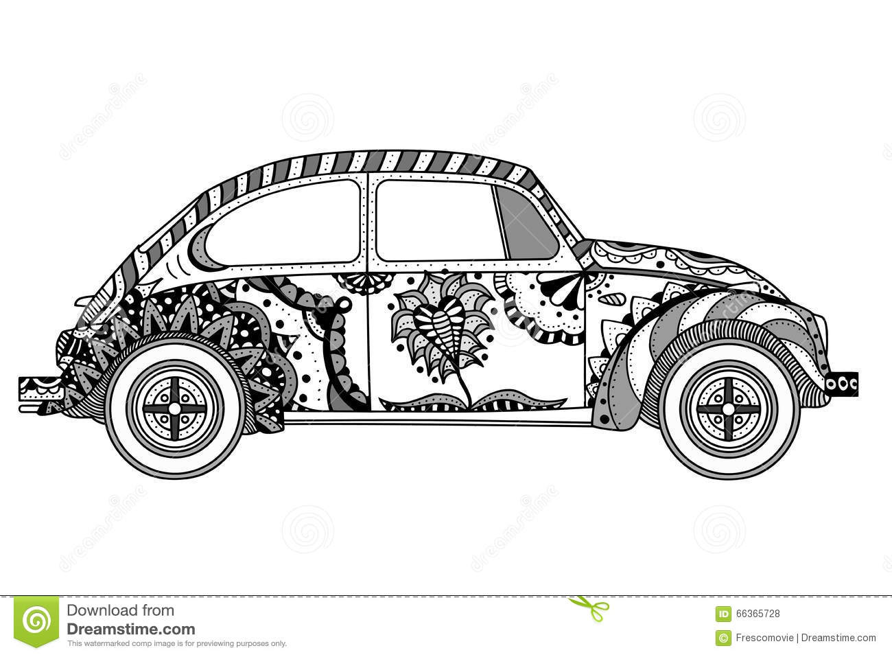 Vintage Car In Zentangle Style Stock Vector