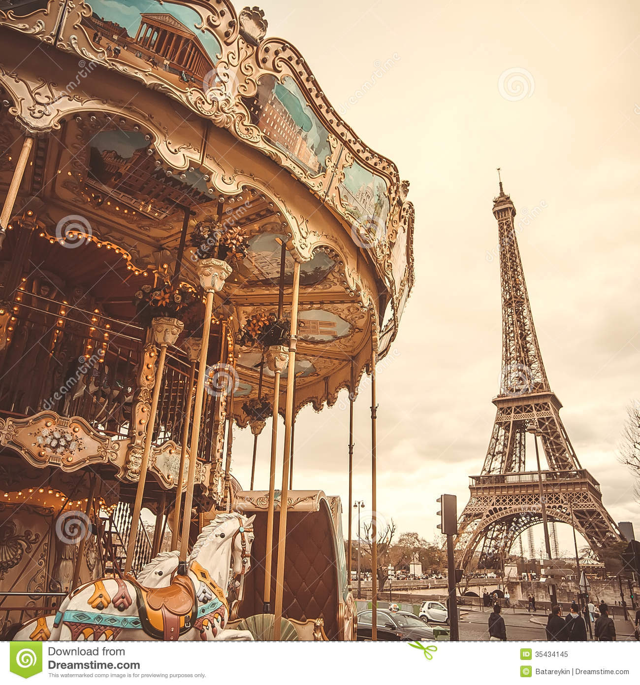 hight resolution of vintage carousel in paris