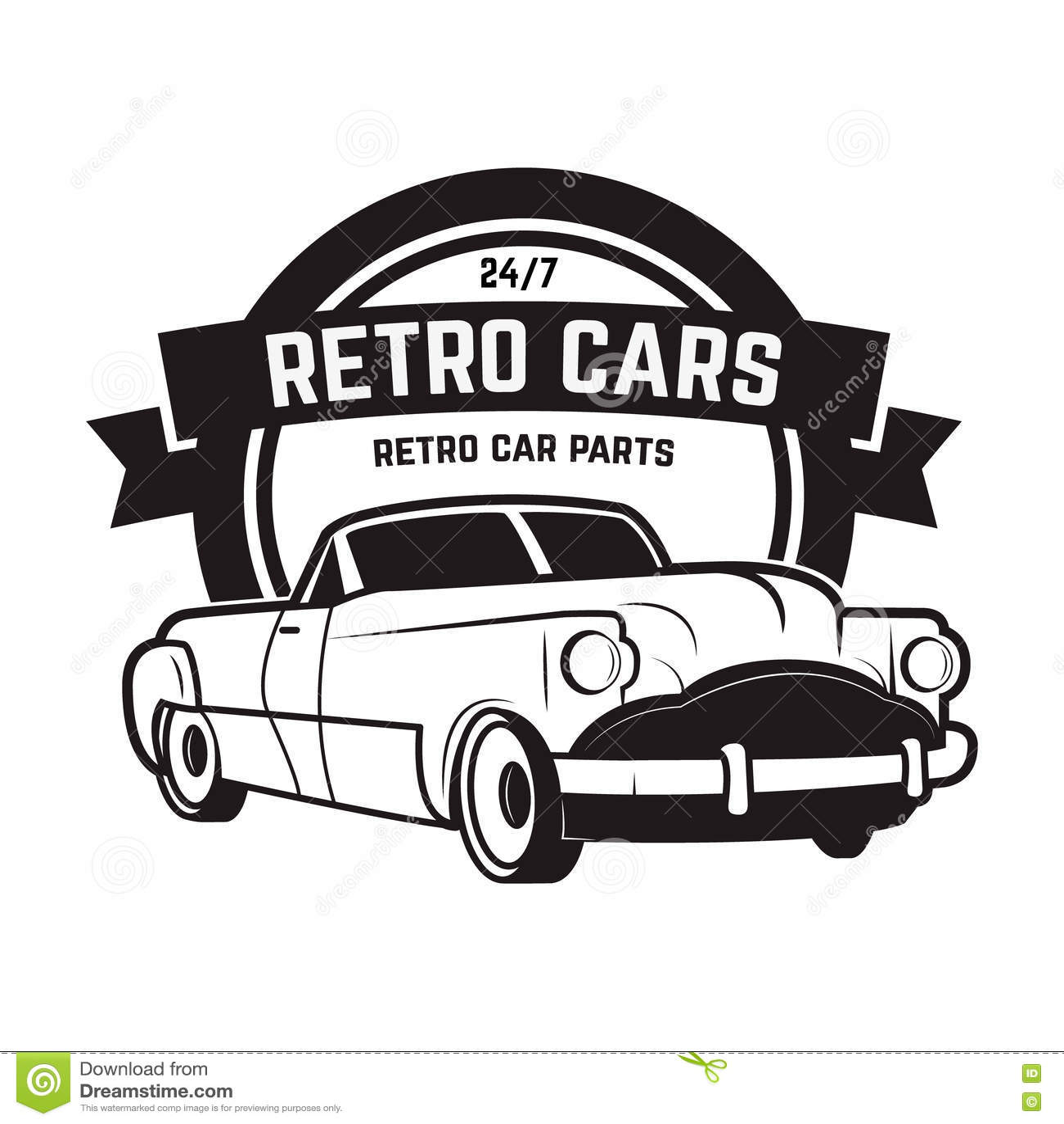 Vintage Cars Sale. Retro Car Icon. Car Repair. Stock