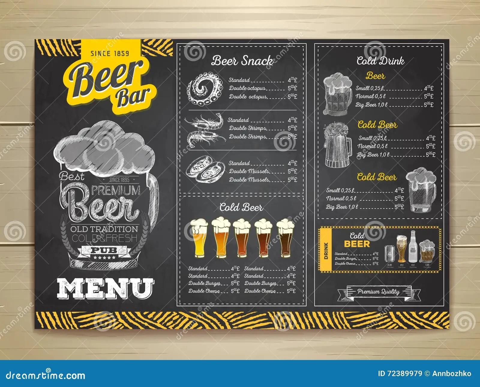Vintage Chalk Drawing Beer Menu Design. Stock Vector - Illustration ...