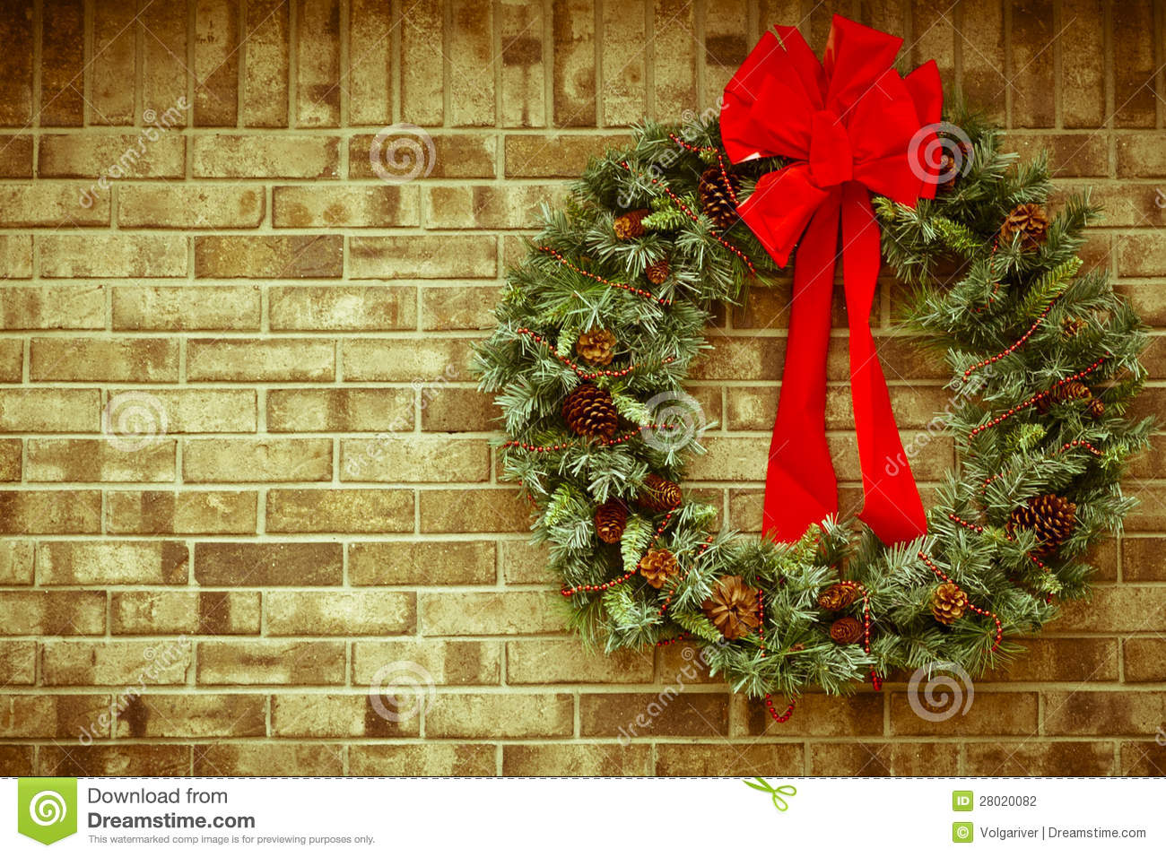 Decorated Christmas Fireplace On A Brick Wall Stock Photo Image Christmas Wreath On Rustic Brick Wall. Royalty-free Stock