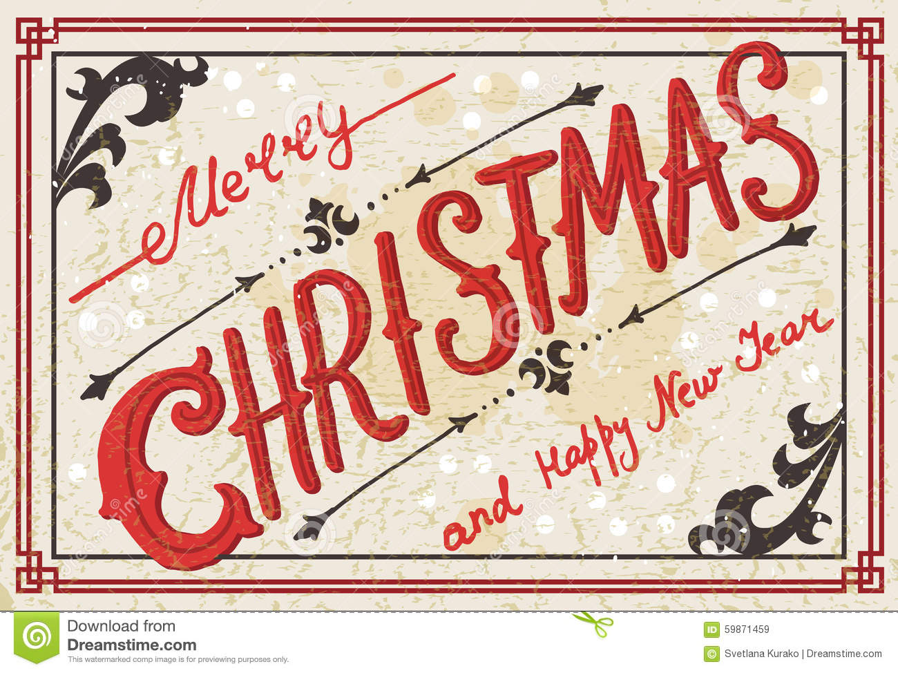 Vintage Christmas Card Stock Vector Illustration Of