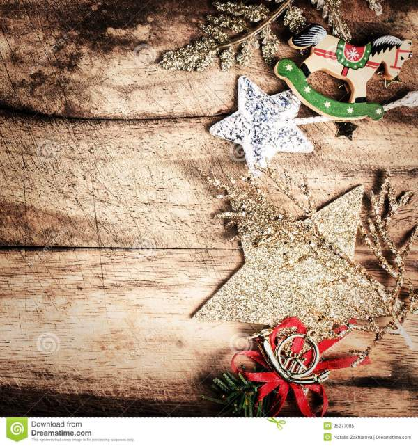 Vintage Christmas Decoration On Natural Wooden Textured