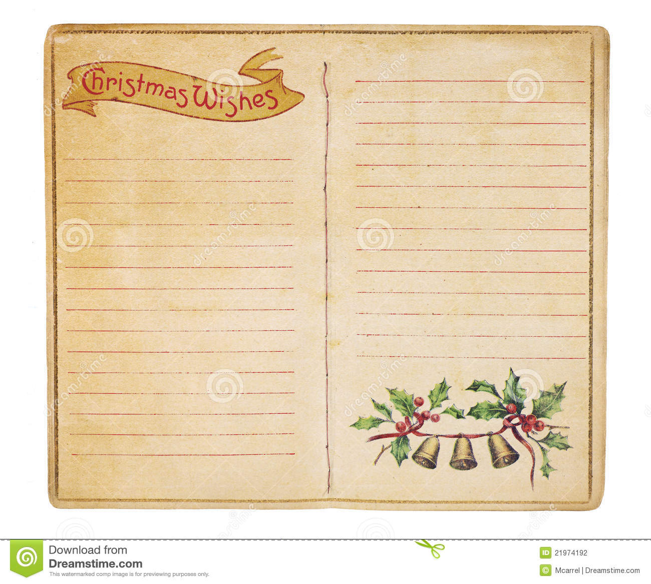 Vintage Christmas List Booklet Stock Photography Image