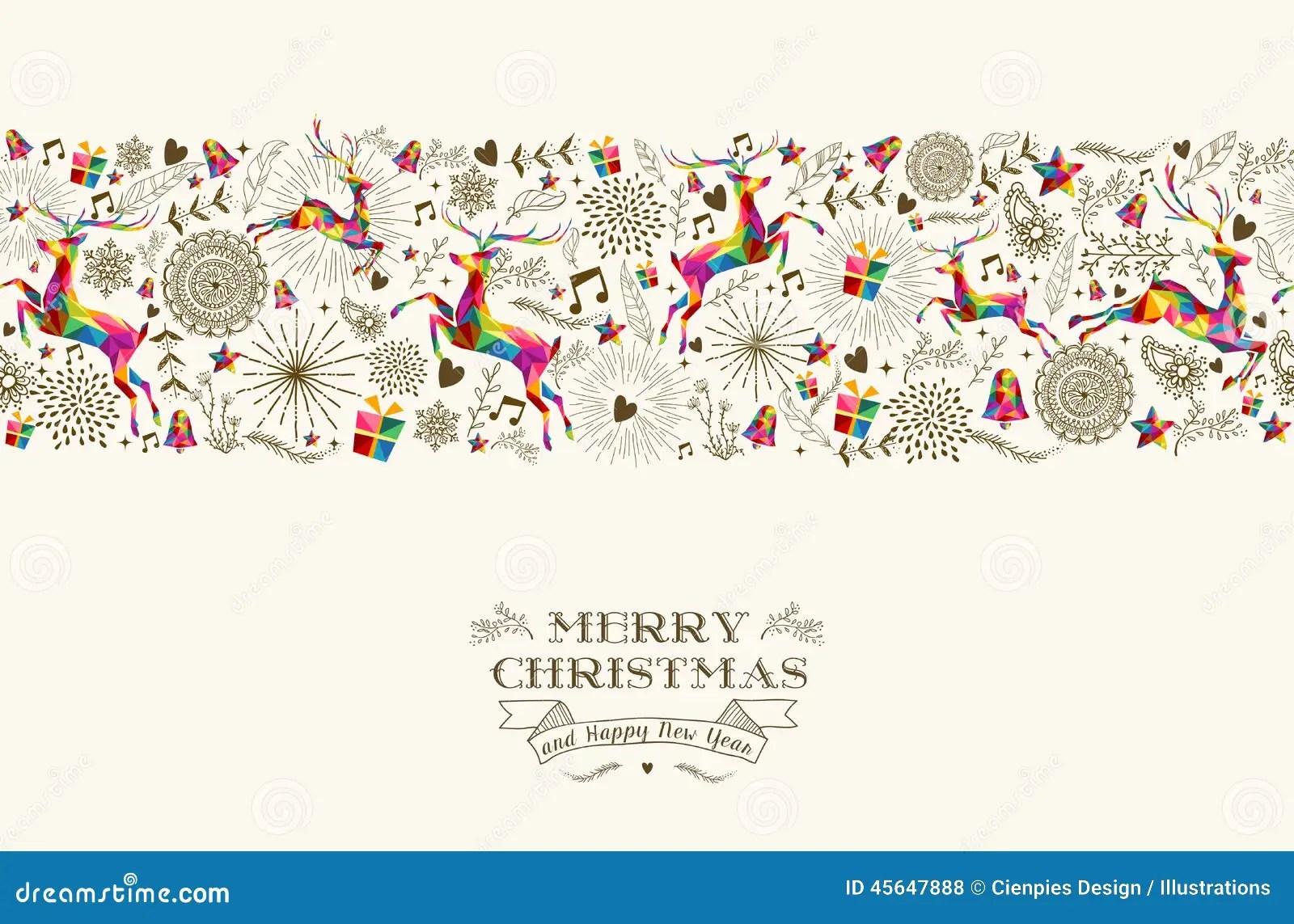 Vintage Christmas Reindeer Seamless Pattern Stock Vector