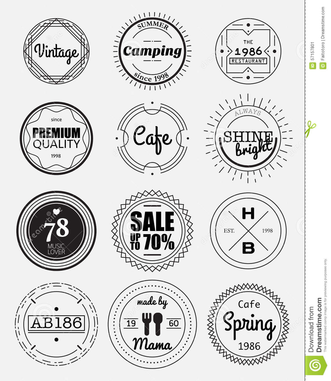 12 Vintage Circle Badges Collection Stock Vector