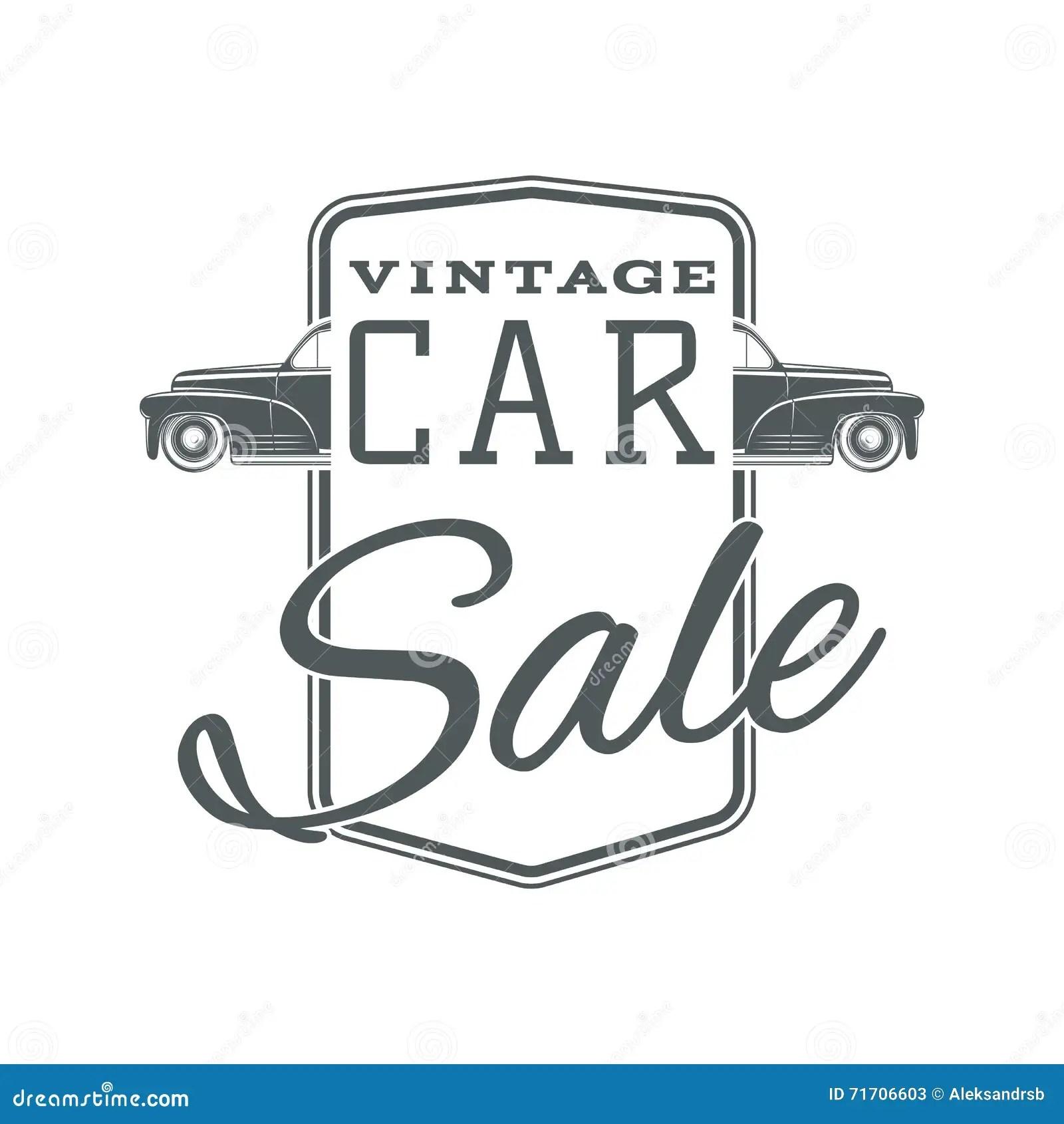 Vintage, Classic Car Sale Label Template. Stock Vector