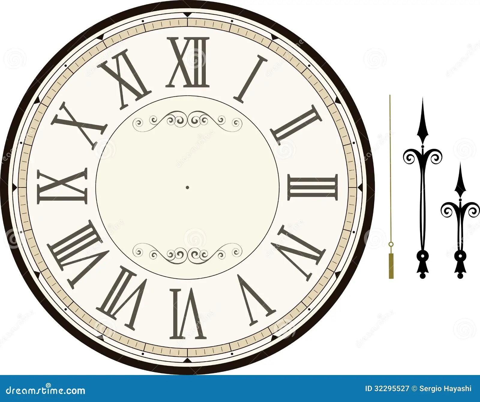 Vintage Clock Face Template Stock Vector