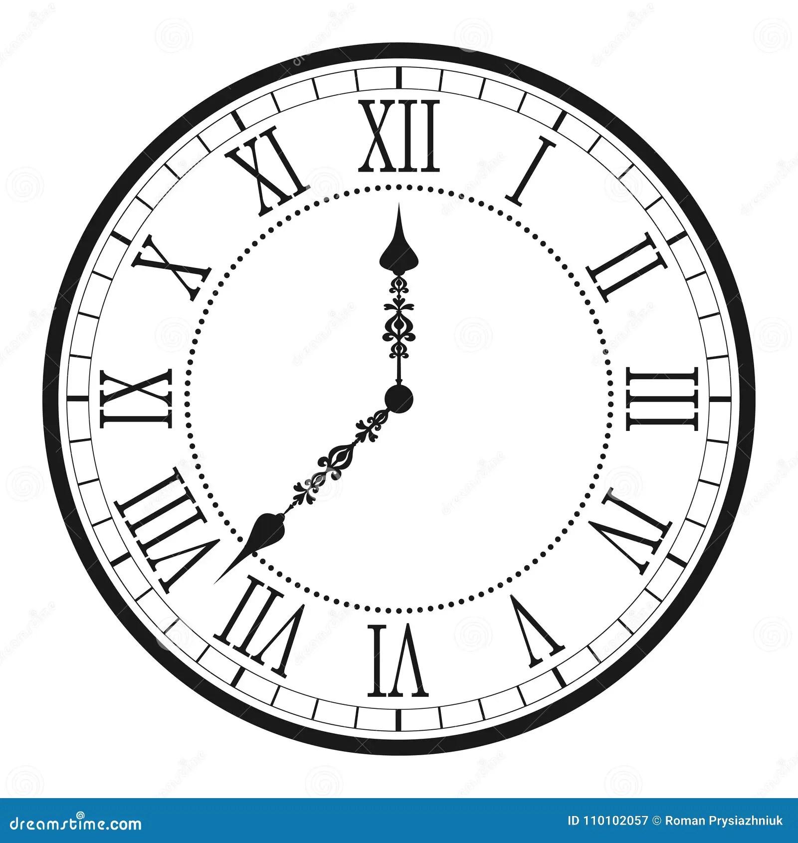 Vintage Clock With Roman Numeral Antique Wall Clock Face Dial Vector Stock Vector