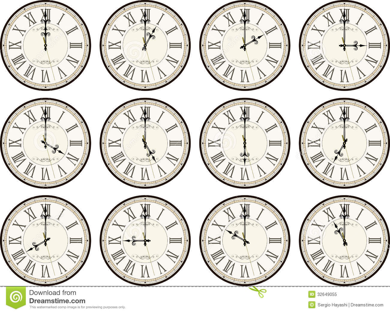 Vintage Clocks Different Times Stock Vector