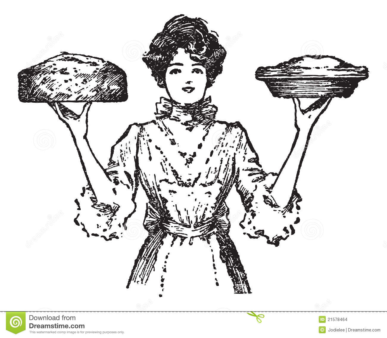 Vintage Cook Or Waitress With Baked Pies Stock Vector
