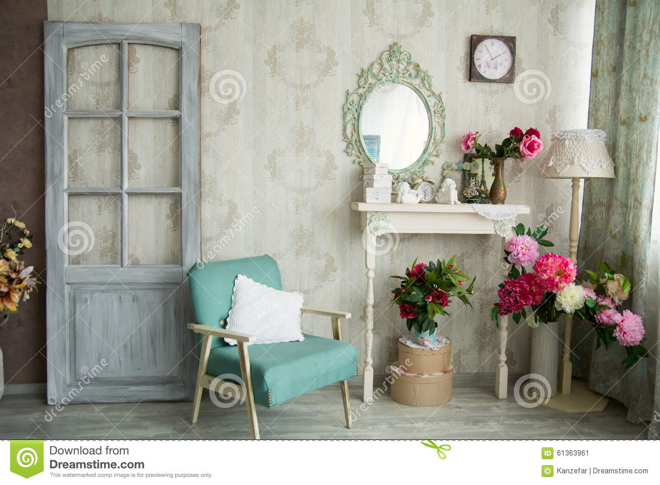 Vintage Country House Interior With Mirror And A Table With A Va Stock Image  Image of decor