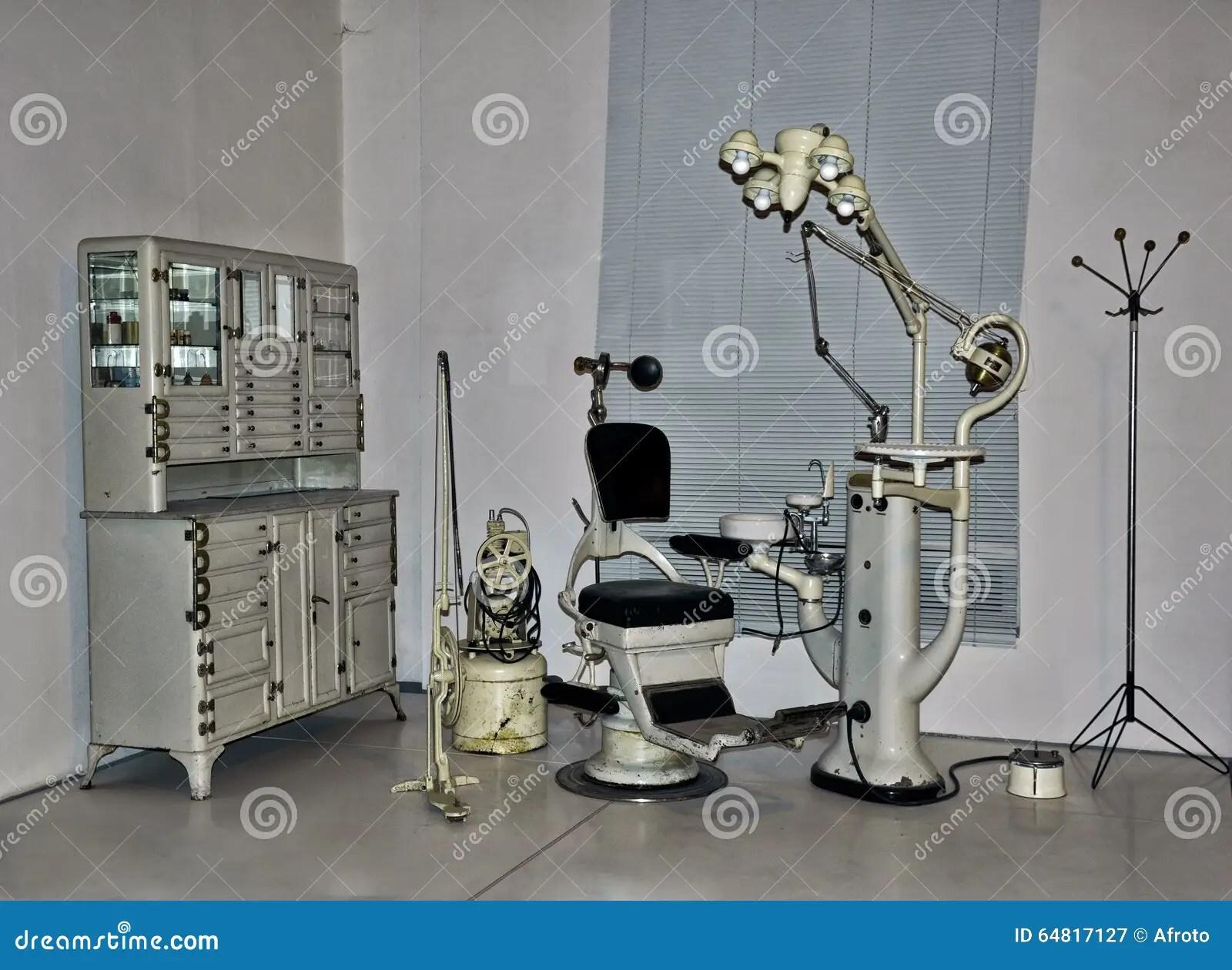 vintage dentist chair target spider web tools medical equipment in retro cartoon