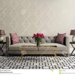 Sofas For Less Charcoal Sectional Sofa Vintage Elegant Living Room With Grey Velvet Stock ...