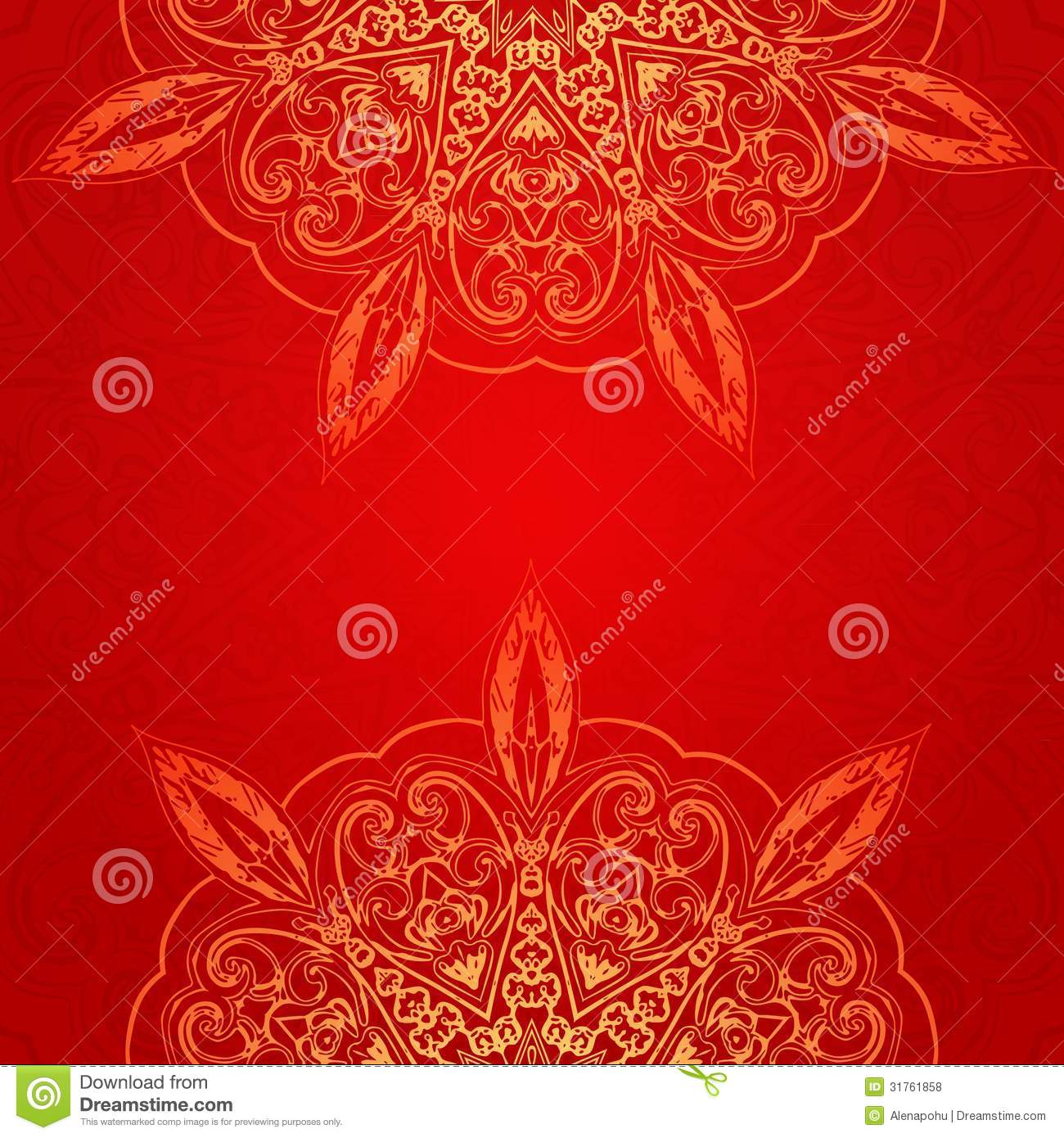 Vintage Ethnic Vector Ornament Mandala Background Stock