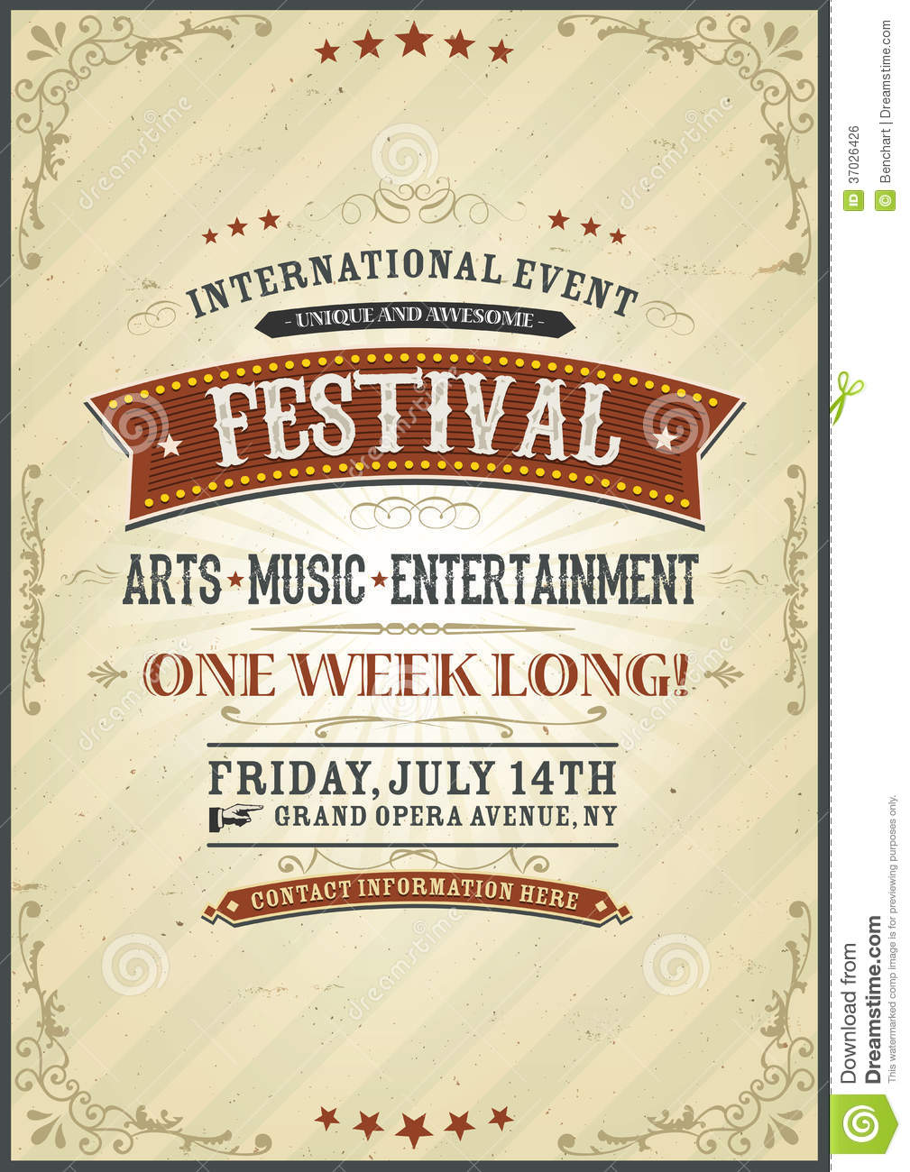 Vintage Festival Poster Royalty Free Stock Image  Image