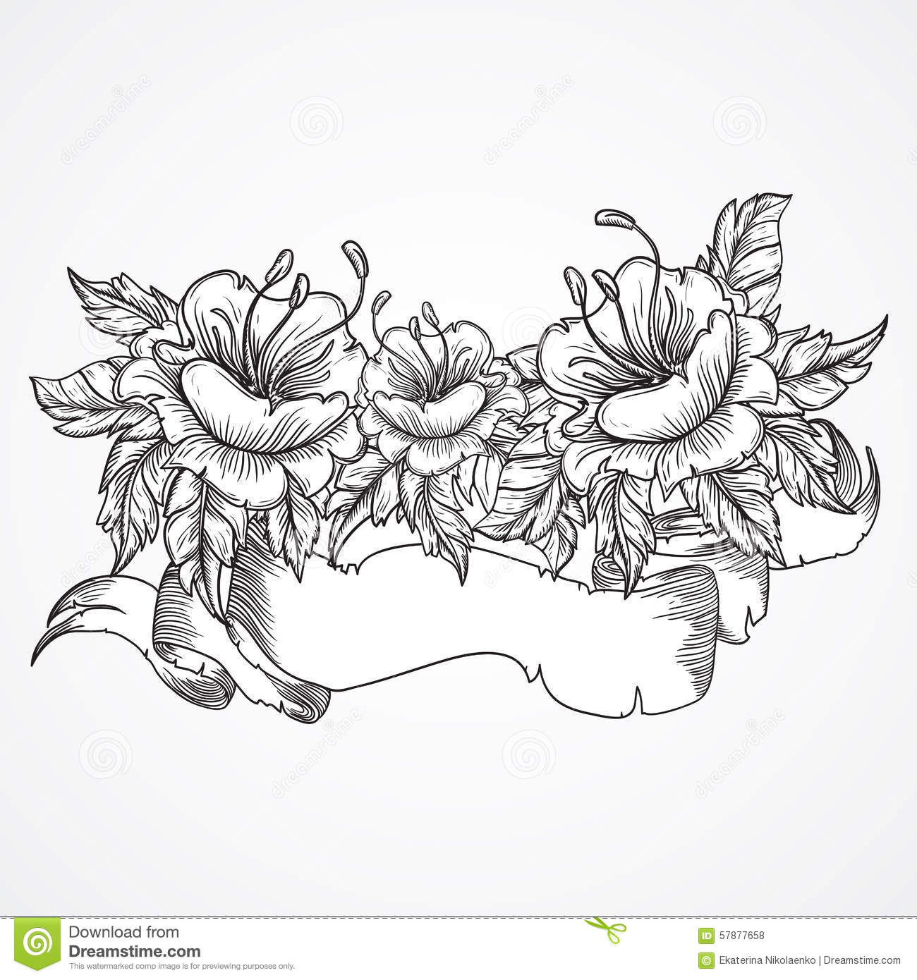 Vintage Floral Highly Detailed Hand Drawn Bouquet Of
