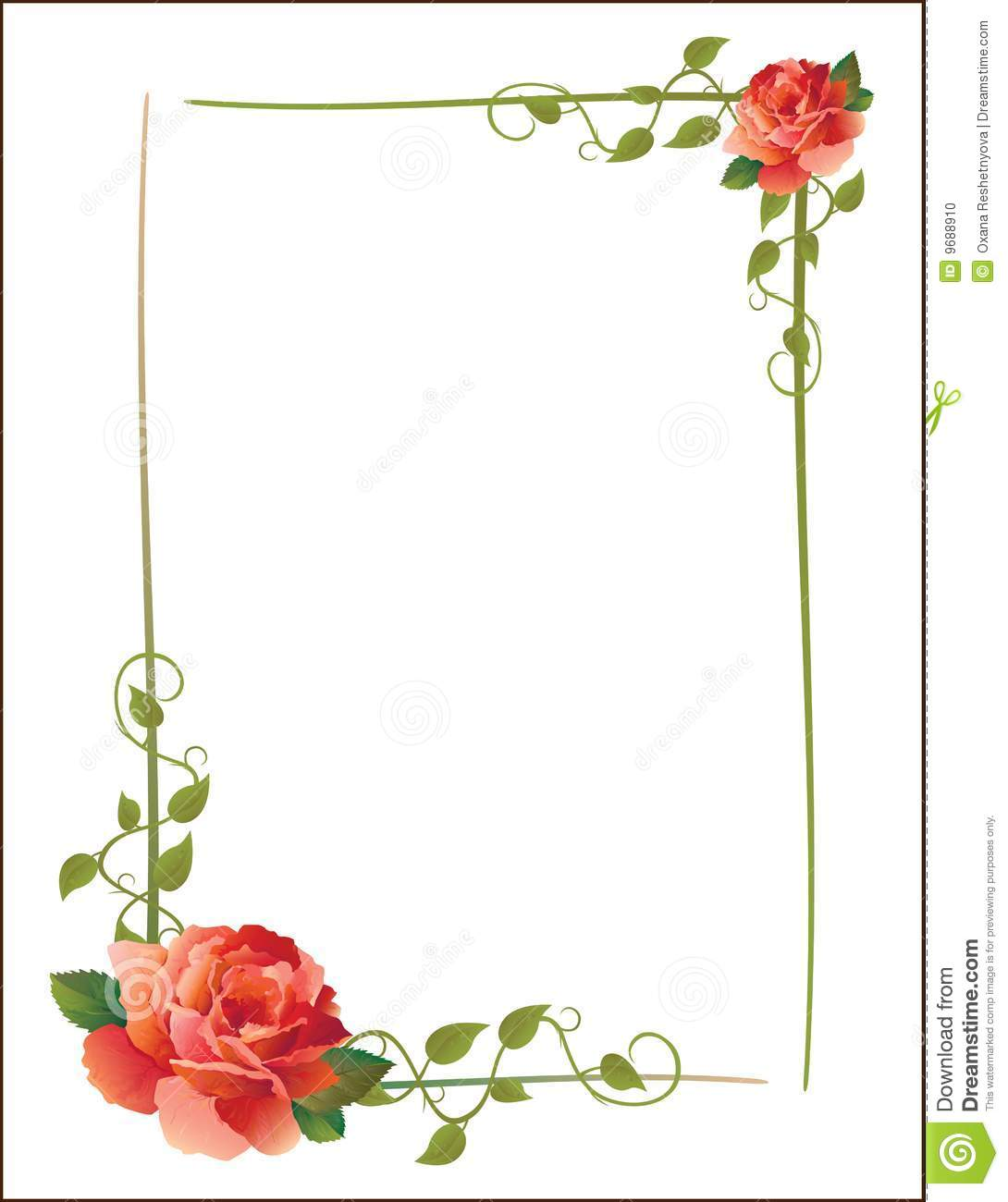 Vintage Frame With Roses Stock Photo Image 9688910