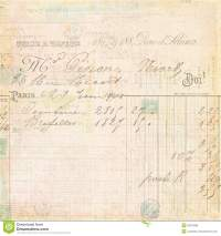Vintage French Invoice Receipt Script Background Royalty ...