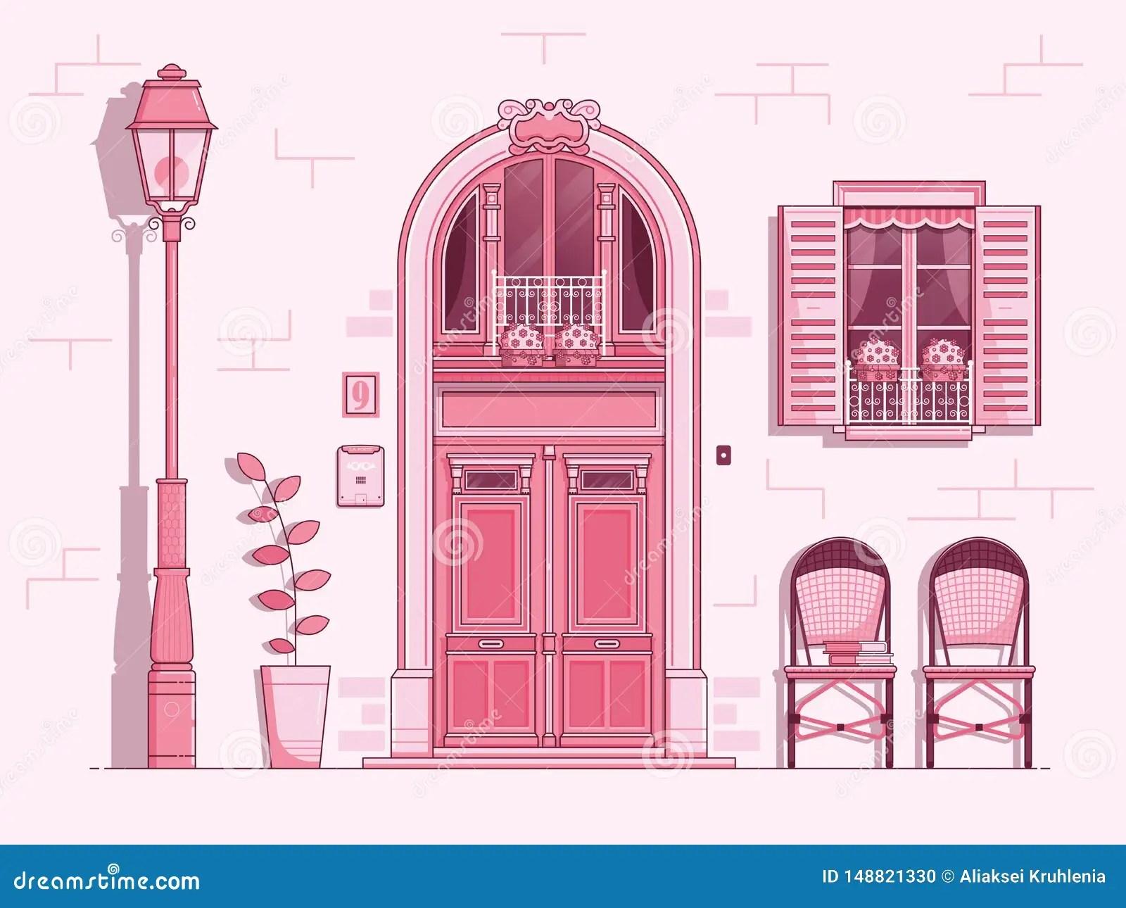 Vintage French Window And Door Scene Stock Vector