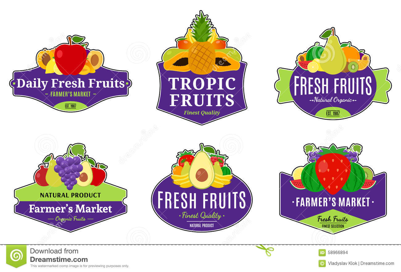 vintage fruits logos and