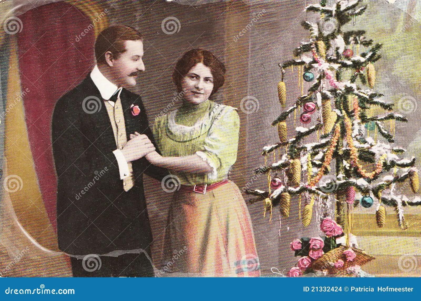 Vintage German Christmas Postcard Editorial Stock Image
