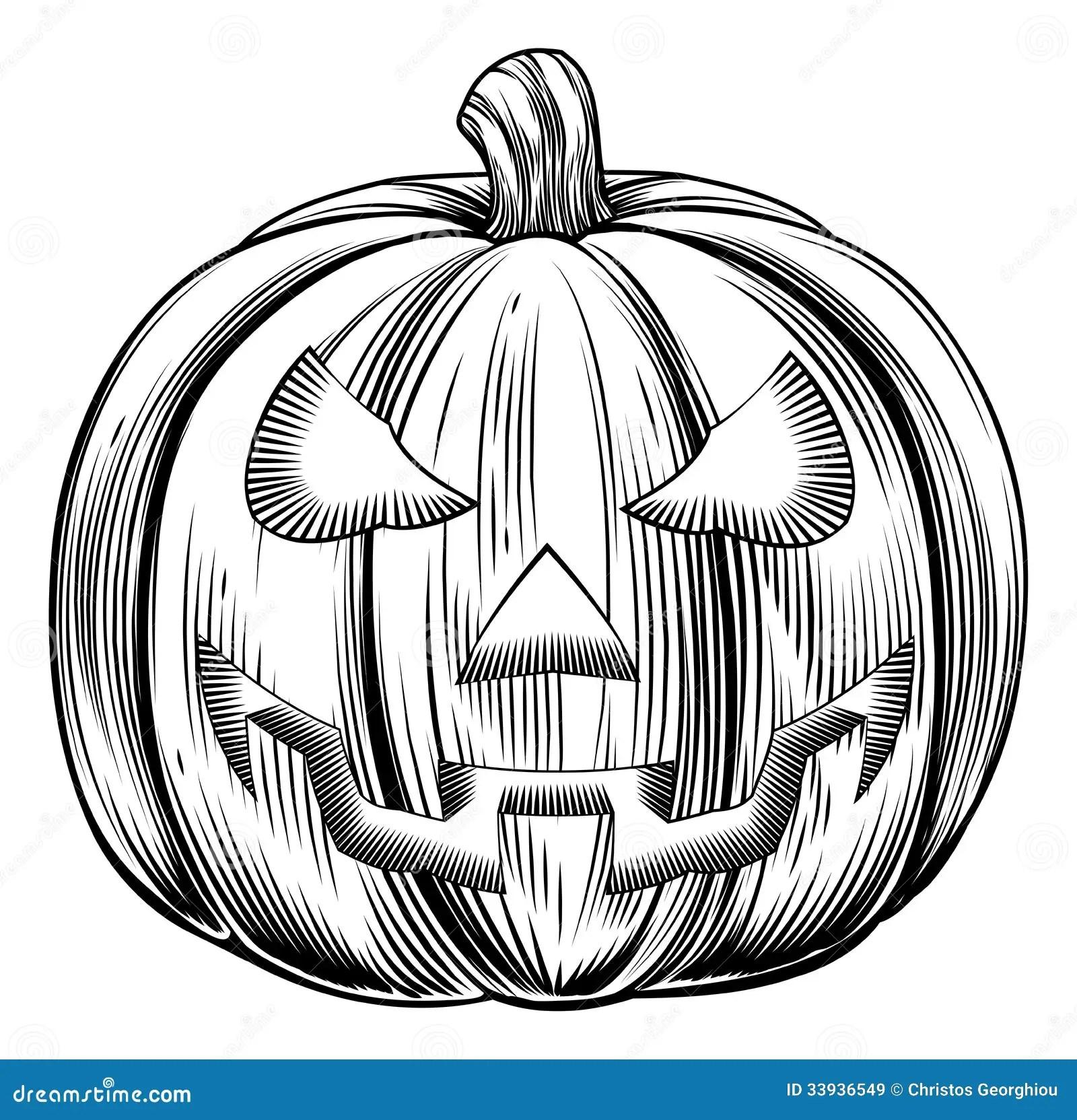 Vintage halloween pumpkin stock vector Image of print